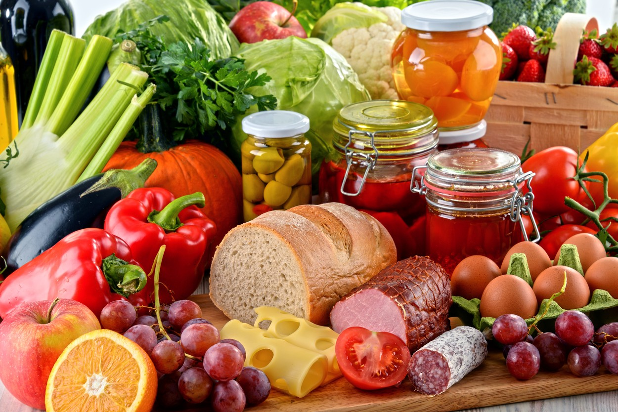 Composition with variety of organic food. Balanced diet.