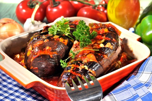 Stuffed Aubergines with Vegetable