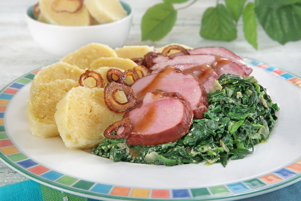 Smoked Pork with Spinach and Potato Dumplings