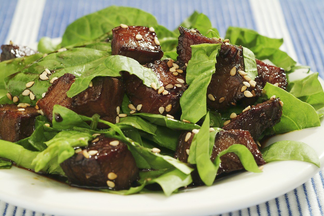 Beef Strips with Spinach