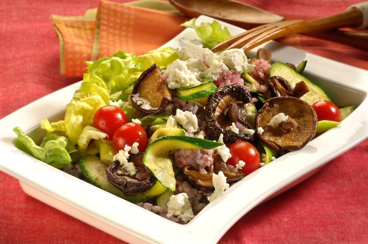 Rice Salad with Shitake Mushrooms