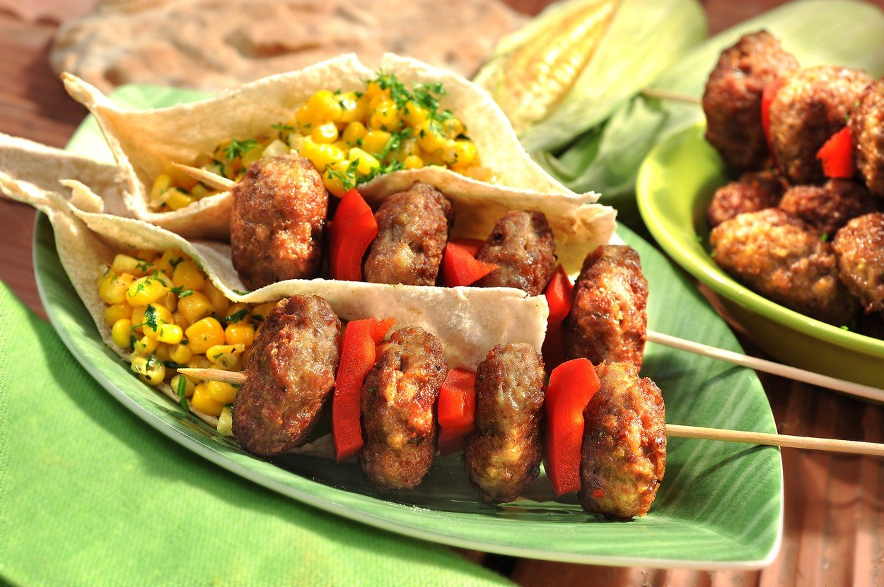 Piquant Burgers with Corn in Pita Bread