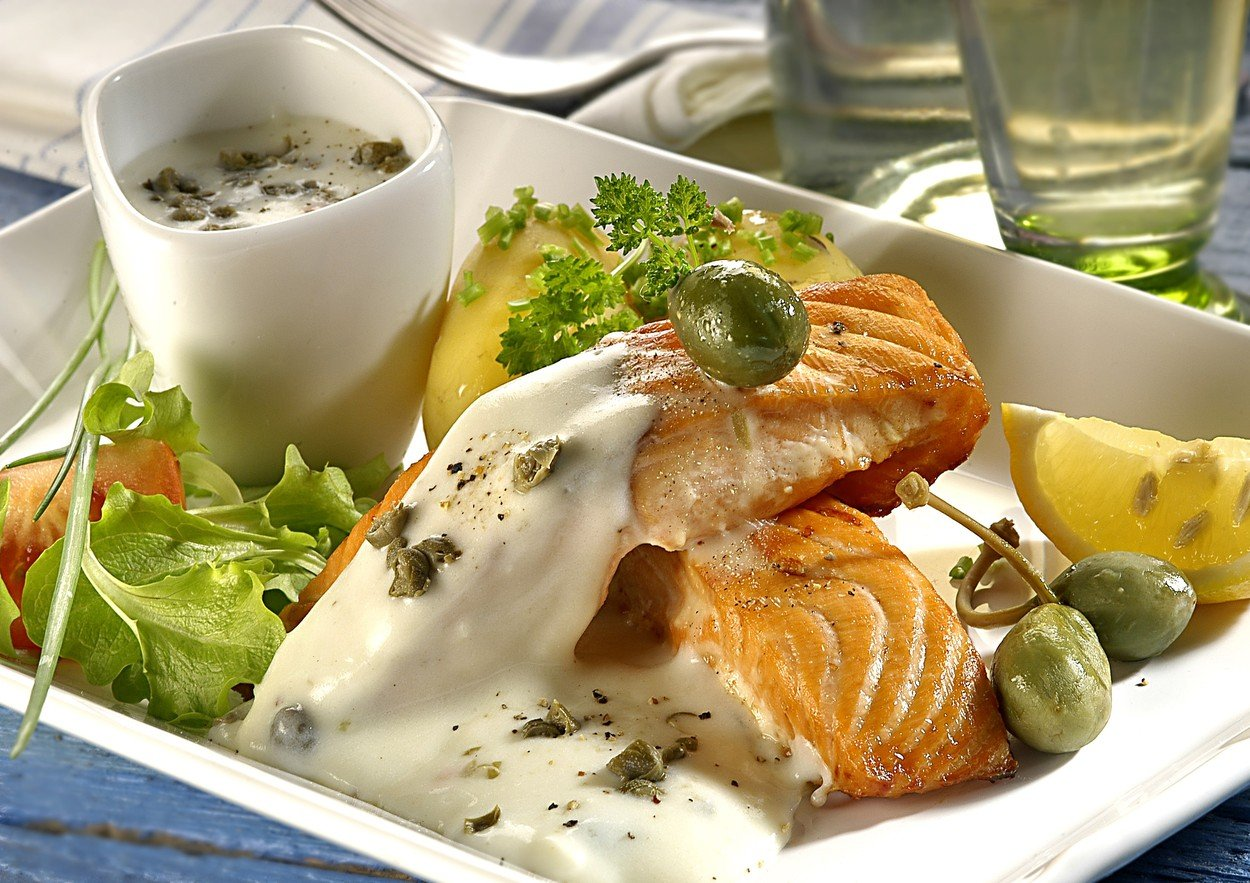 Salmon with Capers and Sauce