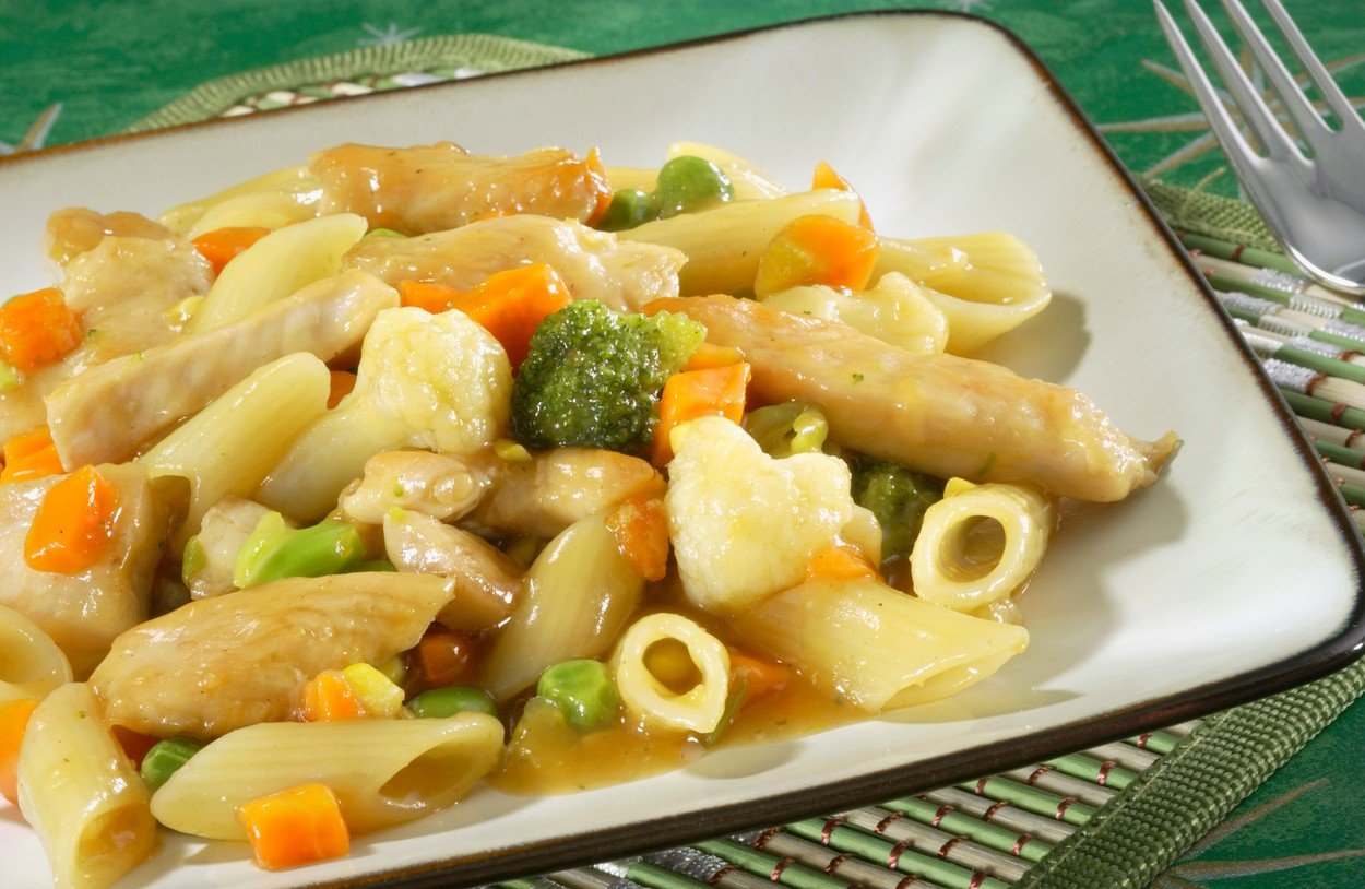 Chicken in Sweet and Sour Sauce with Pasta