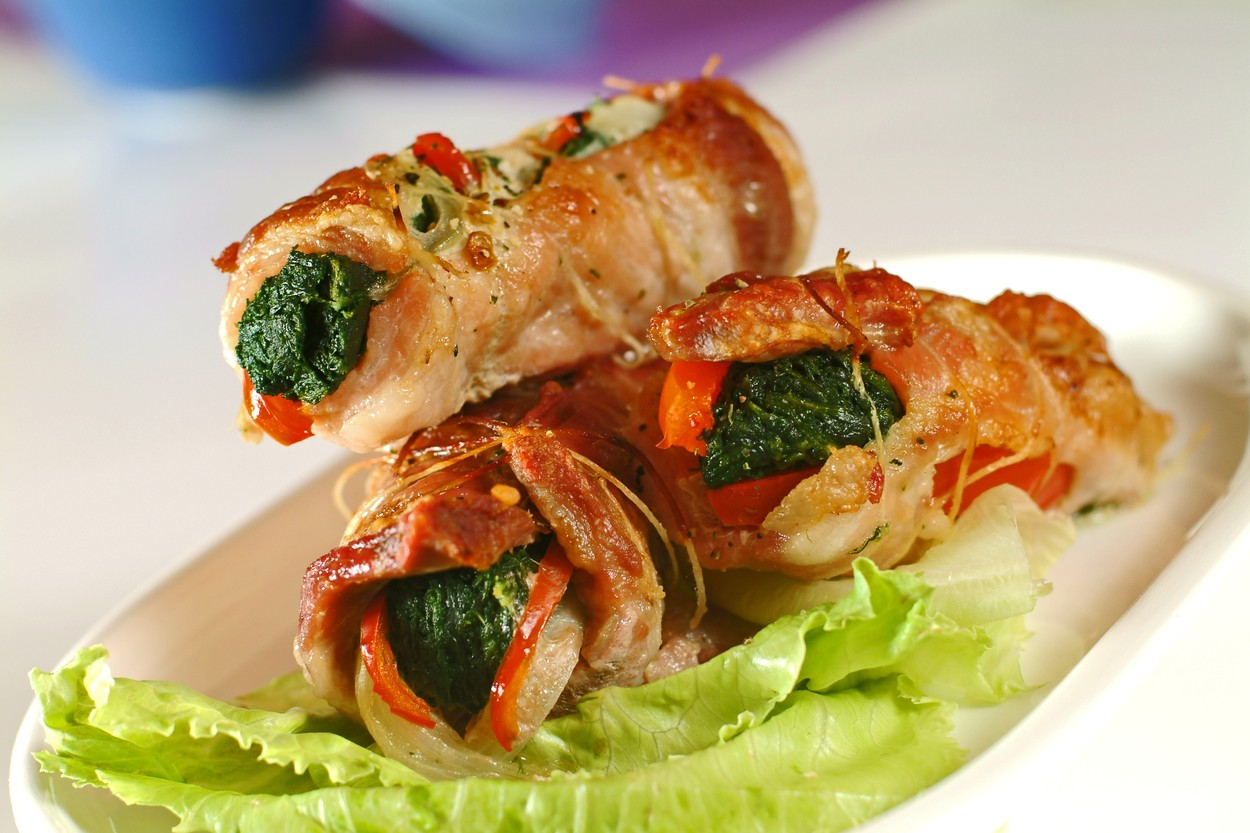 Flitch Rolls with Spinach